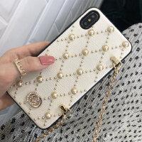 斜跨珍珠XR苹果X手机壳xsmax皮革iphone高档8plus女神6S钻石iphoneXS时尚iphoneXR定制sp