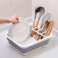 折叠碗碟架放碗架收纳盒沥水架家用装碗筷收纳箱厨房置物架