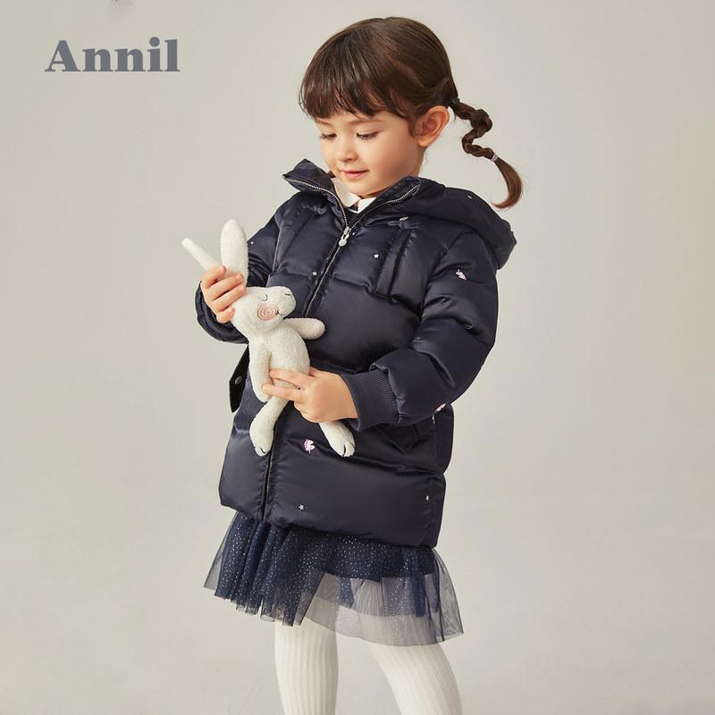 【3件3折预估券后价:252元】专柜同款安奈儿童装女童中长款羽绒服2020