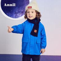 【2件45折:198】安奈儿童装男童中长款宽松风衣外套冬装新款小童摇粒绒上衣