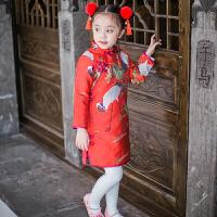 儿童旗袍冬唐服女童唐装洋气公主裙过年衣服拜年服婴儿礼服新品 红色