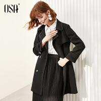 【超品叠券预估价:283】欧莎黑色经典款赫本风风衣女中长款2020年新款春季时尚流行外套ol