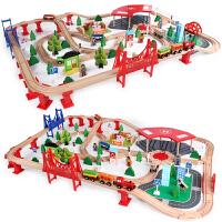 木制托马斯小火车轨道套装磁性电动车头3-5-7岁男孩积木儿童玩具定制