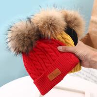 儿童帽子秋冬韩版毛线帽婴儿毛球女孩男孩冬季棉帽