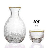 日式玻璃白酒清酒具套装 锤目纹酒盅分酒器小酒杯酒壶创意1壶4杯