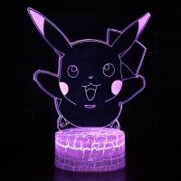小夜灯可爱动漫 可爱皮卡丘3D立体小夜灯卧室LED台灯创意情人节礼品生日礼物