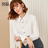 【2.5折到手价:153】欧莎白色衬衫女设计感小众2020新款春季百搭时尚洋气职业衬衣长袖