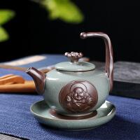 功夫茶具套装家用简约景德镇陶瓷哥窑冰裂釉功夫茶杯茶壶礼盒 图片色