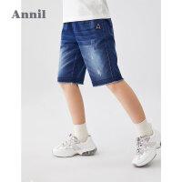 【3件3折价:74.7】安奈儿童装男童牛仔中裤2020夏装新款洋气毛边中大童男孩五分裤子