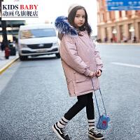 儿童棉衣中长款2018新款韩版中大童冬季棉袄女孩厚款外套