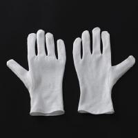 白手套加厚文玩盘珠手套礼仪白手套劳保手套作业手套棉布手套 加厚棉(12双) M