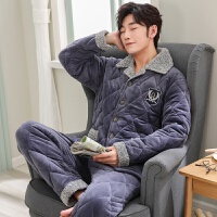 睡衣男冬季加厚加绒三层夹棉珊瑚绒保暖法兰绒棉袄男士睡衣家居服