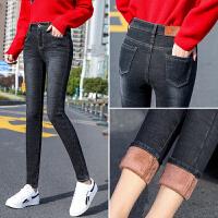 港味风裤冬季新款弹力高腰加绒加厚牛仔铅笔裤修身显瘦3067#