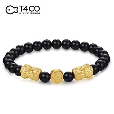 T400 999足金 3D硬金 - 黑曜石貔貅铜钱手链