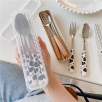 可爱学生不锈钢便携餐具套装筷子勺子叉子三件套外带少女心单人装