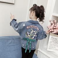 女童牛仔外套童装2019春季新款中大童韩版重工刺绣破洞夹克上衣 牛仔蓝