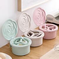 玫瑰造型翻盖调料盒送勺子 厨房塑料分格圆形调味盒调料罐