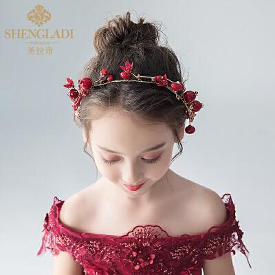 儿童头饰红色花环公主头花发带发饰女孩百搭发箍演出饰品
