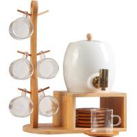 北欧陶瓷水果汁饮料壶套装耐热家用茶具客厅冷水壶杯具带铜水龙头 1水壶6玻璃杯6竹垫1架