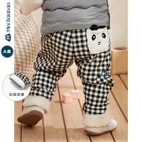 迷你巴拉巴拉婴儿裤子男女宝宝格子长裤2019冬装新款加绒保暖PP裤