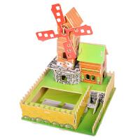 3D立体拼图木质拼插汽车飞机模型积木制小屋建筑儿童diy玩具