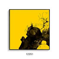 现代抽象客厅装饰画 个性墙画简约挂画黑白壁画工业风水墨三联画 70*70 木纹色框 独立