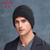 卡蒙全羊绒翻檐帽子男冬天休闲保暖套头帽中老年针织包头帽毛线帽9284