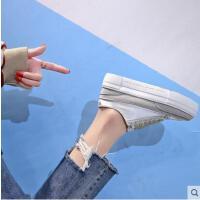 西班牙小众鞋厚底网红同款潮鞋学生帆布女鞋韩版百搭松糕底小白鞋