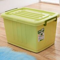 纳箱特大号塑料整理箱加厚衣柜收纳盒书籍被子储物箱车载后备箱有盖带轮子储物盒ww 加厚浅绿色 100L 58x42x35