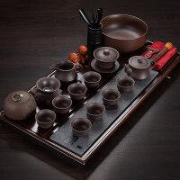 家用紫砂喝茶功夫茶具实木茶盘套装泡茶壶简约石头托盘茶海茶台 15件