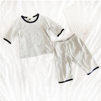 儿童睡衣夏男女童家居服套装棉薄款中小童空调服短袖童装夏装 家居服灰色 80cm