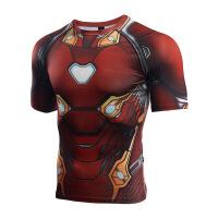 官方旗舰店复仇者联盟3无限战争MK50钢铁侠衣服健身运动速干衣漫威短袖T恤男 红色