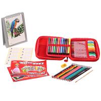 真彩文具美术课手绘套装蜡笔彩铅晶彩棒套装涂色早教创意美术礼盒无年历款TZ2889