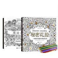 送12色彩色铅笔秘密花园 魔法森林 全套装共2册 减压填色本减压涂鸦涂色书全书由乔汉娜・贝斯福手绘而成,图案精致唯美,