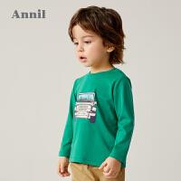 【2件3折价:41.7】安奈儿童装男小童T恤长袖2020新款洋气男宝宝印花上衣纯棉打底衫
