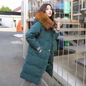 RANJU然聚2018秋季女装新品新款韩版茧型棉服女中长款修身大毛领大码外套面包服棉衣女