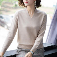打底衫女毛衣秋冬季女�b2019��松�色短款�L袖��衫V�I上衣 S 建�h80-95斤