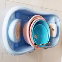 卫生间置物架免打孔浴室不锈钢脸盆架壁挂脸盆收纳架挂墙式盆架子ww 大号壁挂免钉胶