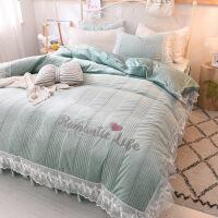 公主风珊瑚绒四件套加厚保暖双面绒水晶绒床罩床裙式宝宝绒