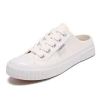 春季新款黑色无后跟半托帆布鞋女韩版休闲学生小白鞋女平底懒人鞋