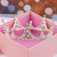皇冠头饰新款新娘结婚三件套发饰品女公主生日王冠婚纱配饰 浅金色 单皇冠