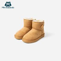 【4折价:96】迷你巴拉巴拉童鞋女童男童休闲鞋2019冬季新款加绒保暖时尚雪地靴
