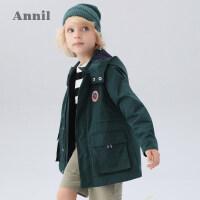 【活动价:339】安奈儿童装男童风衣外套春2020新款学生中长款摇粒绒内里外套连帽