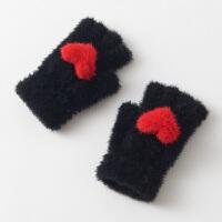 毛线手套女冬学生写字ULzzang款针织半指露指手套女冬保暖可爱