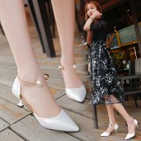 女式 新款性感百搭OL范儿粗跟中空装饰扣工作单鞋女