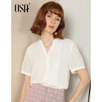 【领券到手价:81.9】OSA欧莎女士雪纺衬衫气质轻熟白色衬衣夏短袖2019新款设计感小衫