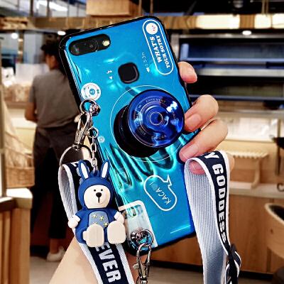 新款vivox20手机壳女款蓝光步步高x20plus保护套网红同款个性创意x20a软硅胶情侣时尚超薄 vivo x20--蓝色【背包式蓝光相机+迷你公仔
