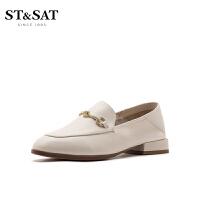St&Sat/星期六2020春季新款深口圆头方跟乐福鞋单鞋女SS01111002