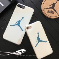 乔丹手机壳苹果6plus电镀蓝光潮牌个性iphone7全包边防摔软壳6s iphone7 白色 4.7寸