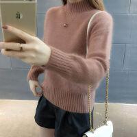 2019毛衣女冬季加绒学生韩版宽松套头低领短款厚打底针织衫 S 适合80-95斤